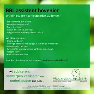 Vacature 2016 BBL Assistent hovenier